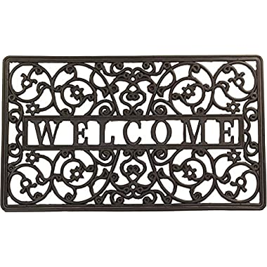Envelor Home and Garden Rubber Wrought Iron Rubber Welcome Door Mats - Various Designs (Size 18 x 30 inches) (Iron_Scroll)