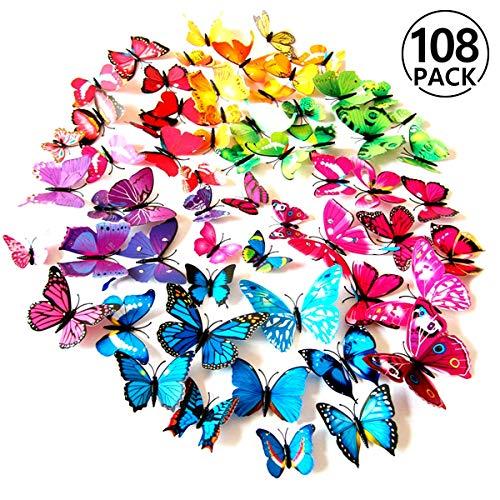 Foonii 108 Pezzi farfalle 3D adesivi per pareti vari colori decorazione casa stickers murali (12 Pezzi Rosso/Blu/Giallo/Verde/Rosa/Colore/Bianca/Realistico/Viola)