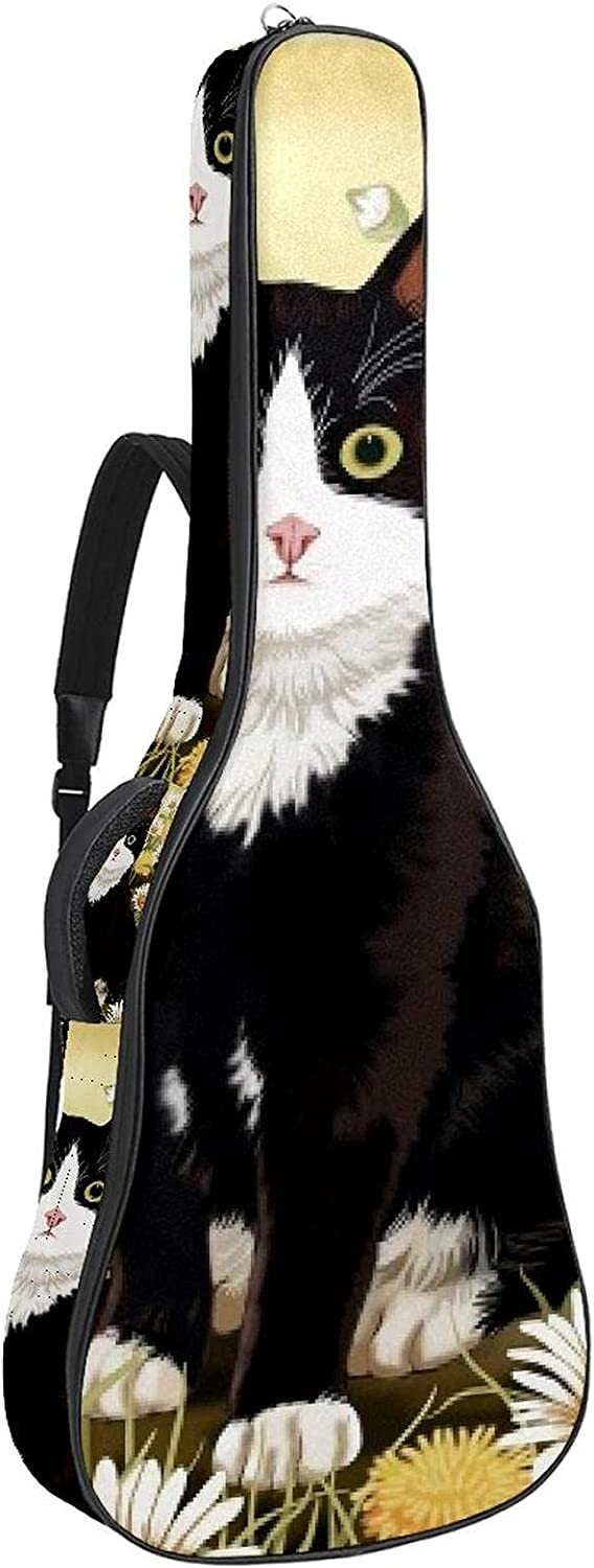 Cat and Flowers Guitar Bag Case Oxford Cloth Award-winning store Topics on TV G Waterproof