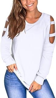 Atizon Women's Casual Long Sleeve Cold Shoulder Tops Comfy Cutout Shirts Tunic Top Basic Blouses Tshirts