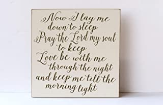 weewen Child Prayer Now I Lay Me Down to Sleep Nursery Decor Wall Art for Nursery Child Room Decor Family Decor Typography Sign Door Decorative Wood Signs with Quotes Home Plaque