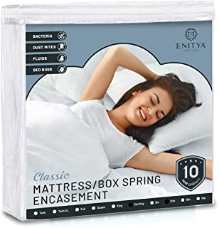 ENITYA Zippered Mattress Encasement-Waterproof Mattress Protector,Polyester Surface Fabric Mattress Cover,Breathable-Quiet-Hypoallergenice-Vinyl Free,Cal King Size:W72 x L84 x H12
