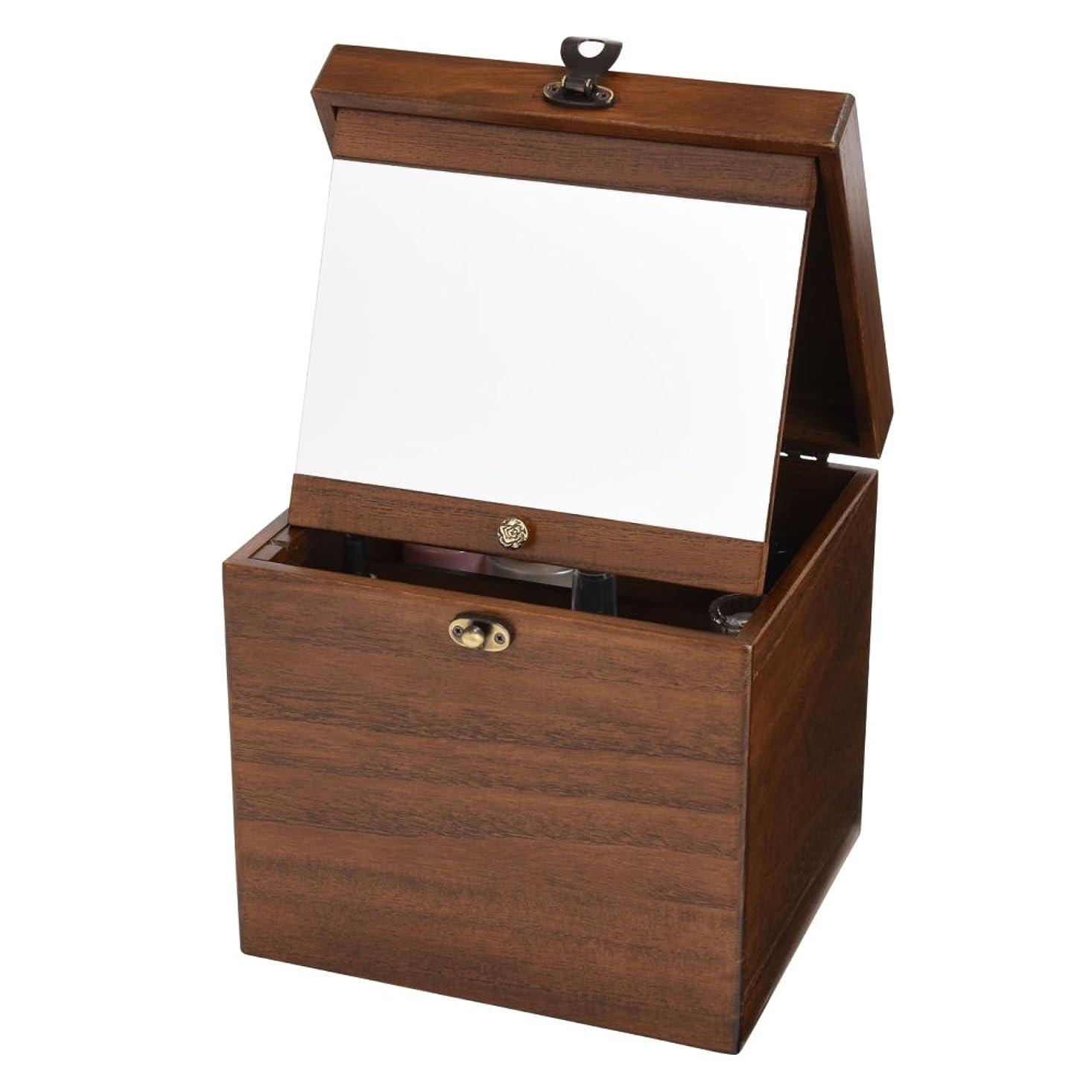 不適当モール観察木製コスメボックス 収納 鏡付き 持ち運び 化粧ボックス メイクボックス 日本製