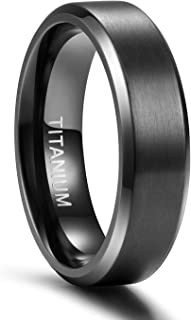 TIGRADE 4MM/6MM/8MM Unisex Titanium Wedding Band Rings in Comfort Fit Matte Finish for Men Women