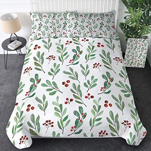 Sleepwish Rustic Watercolor Leaves Bedding Christmas Floral Duvet Cover 3 Piece Greenery Red Berries Pattern Bed Set for Girls Women (King)