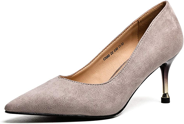 Meiren Shallow Pointed High Heels Fashion Simple Wild Slim Women's shoes Grey