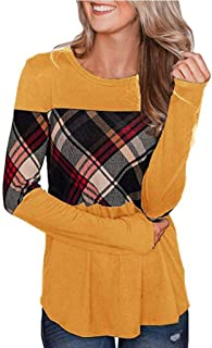 OULSEN Women Fashion Plaid Spliced T-shirt Spring Autumn Daily Casual Loose Crew Neck Long Sleeve Blouse Tops
