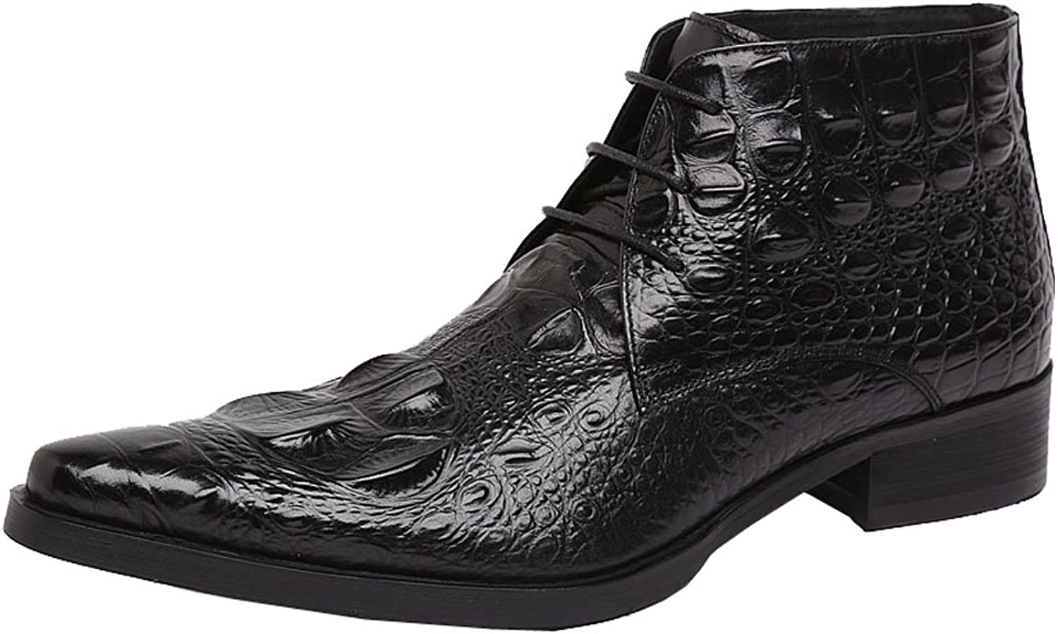 Jsix Real Leather Men's Ankle Boots Lace Up Crocodile Embossed