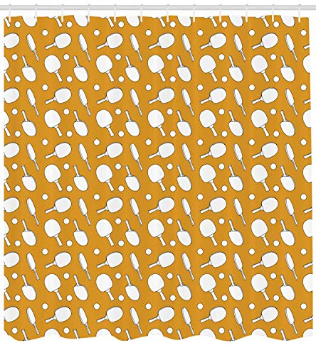 MSGDF Tennis Shower Curtain, Ping Pong Rackets and Balls on a Warm Toned Backdrop Monochrome Sports Pattern, Cloth Fabric Bathroom Decor Set with Hooks, Orange White,Size:72 X 72 Inches