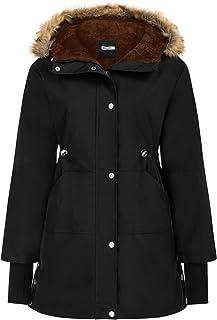 GRACE KARIN Womens Thick Hooded Parkas Coats Windproof Waterproof Faux Fur Fleece Line Down Jackets with Pockets