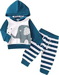 Baby Boy Clothes Outfits Long Sleeve Hoodie Tops Sweatsuit Pants Set Elephant Pattern Print