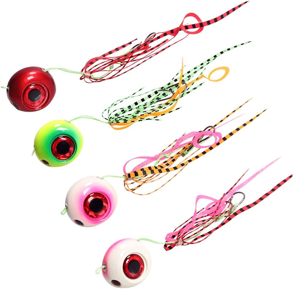YIJU 4X Fishing Silicone Jig Skirts DIY Lead Head Jig Lures with 3D Eyes, Saltwater Freshwater Fishing Bait Accessories Fishing Tackles