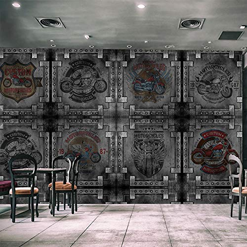 Murales De Pared,Foto 3D Creativos Personalizados Murales De Papel Tapiz Vintage Acero Metal Edificio Placa Tv Hd De Fondo Imprimir Pintura Mural Salón Decoracion Wall Papers,80Cm (H) X 140Cm (W