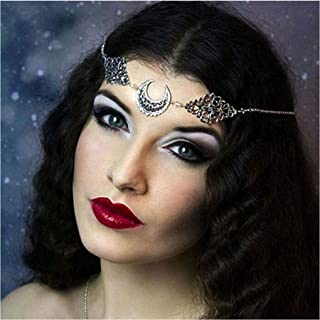 Yalice Gothic Crescent Moon Head Chain Crystal Headband Goddess Hair Acessories for Women and Girls