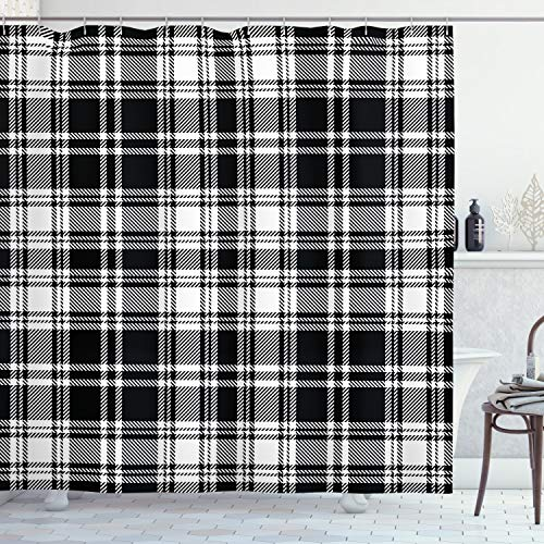 """Lunarable Plaid Shower Curtain, Monochrome Style Vintage English Stripes and Checks Pattern Abstract Grunge Look, Cloth Fabric Bathroom Decor Set with Hooks, 70"""" Long, Black and White"""