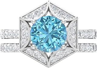 Anillo de compromiso solitario de 8 mm, anillo de boda moissanita, conjunto de anillos de boda, oro blanco de 14 quilates