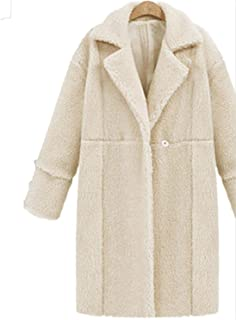 Wool Blend Coat Women Long Sleeve Thick Turn-Down Collar Jacket Casual Winter Overcoat