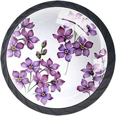 Purple Flower Set of 4 Vintage Color Multi Designed Cupboard Cabinet Door Knobs Drawer Pulls