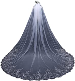White Ivory Cathedral Long Lace Bridal Veil with Comb...