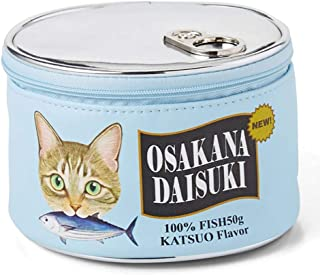 YIGO 化粧ポーチ 猫 ねこ 魚の缶詰 設計 可愛い メイクポーチ バッグ 化粧バッグ 財布 大容量 化粧品収納 小物入れ おしゃれ ブルー