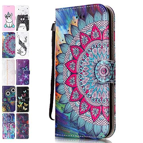 Ancase Handyhülle für Lenovo Motorola Moto G8 Plus Hülle Mandala Muster Lederhülle Flip Hülle Cover Schutzhülle mit Kartenfach Ledertasche für Mädchen Damen