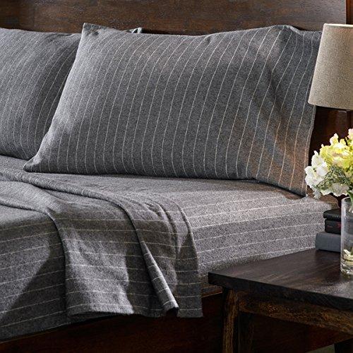 Dormisette Luxury German Stripe Print 6-oz Flannel Sheet Sets (Queen, Charcoal Gray w/White Stripes)