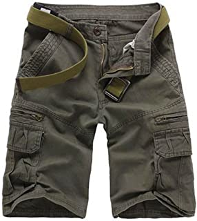 Musen Men Cotton Relaxed Fit Multi Pocket Outdoor Casual Cargo Shorts