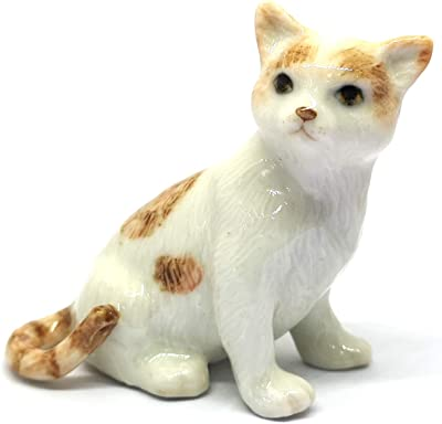 ZOOCRAFT Ceramic Cat Figurine Porcelain Handmade Miniatures Collectible White Brown Sitting