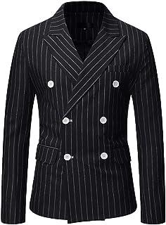 Mens Classic Fitted Double Breasted Blazer Buttons Vintage Jacket Elegant Stripe Wedding Blazers Men's Business Blazer Jac...