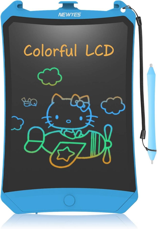NEWYES Tableta de Escritura LCD 8,5 Pulgadas   Tablet para Dibujar para Niños. Colores Más Brillantes. Pizarra electrónica para Aprender a Leer, Escribir y Manualidades   (Azul) Trazos de Color