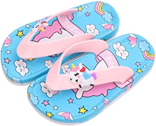 Hopscotch Boys and Girls PU, Rubber Unicorn Applique Slippers in Blue Color
