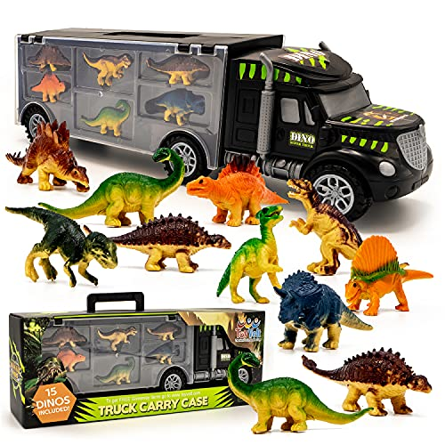 Toyvelt 15 Dinosaurs Transport Car Carrier Truck Toy With Dinosaur Toys Inside - The Best Dinosaur Toy For Boys And Girls Ages 3,4,5, Years Old And Up