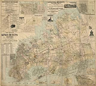 1886 Map New map of Kings and Queens counties, New York : from actual surveys. - Size: 22x24 - Ready