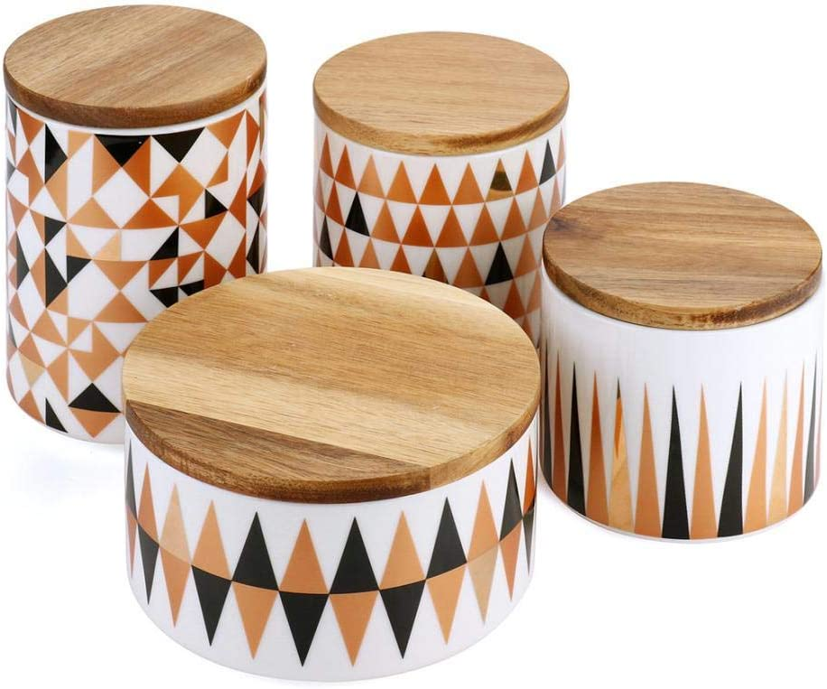 MAOWAO Ceramics Storage Jar Geometric Pattern Wood Ranking TOP15 with Airtight Ranking integrated 1st place