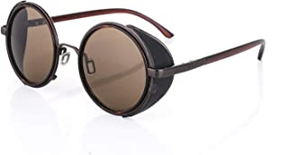 MCalle - Gafas de sol redondas vintage de estilo Steampunk para mujer y hombre