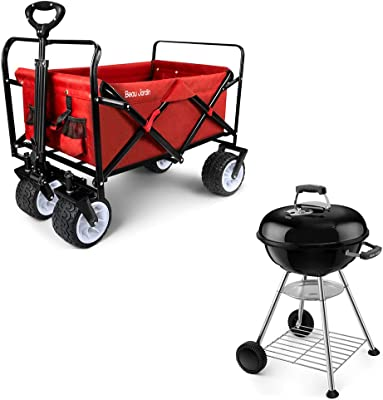 BEAU JARDIN Folding Wagon Cart Collapsible Bundle Premium 18 Inch Grill Portable with Thickened Grilling Bowl for Outdoor Camping Charcoal Barbecue BBQ Grill Picnic