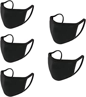Fashion Black Face Coverings Protective, Face Shield Reusable Washable Cotton Fabric,Fulfilled by Amazon in USA(5pcs)