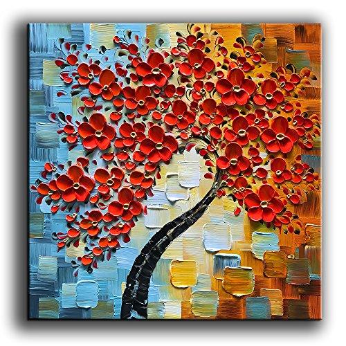 """YaSheng Kunst–handgemaltes Ölgemälde auf Leinwand Weiß Blumen Gemälde Moderne Zuhause Interieur Abstrakte Kunst Bild fertig zum Aufhängen 61x 61cm, Öl, YS-0022, 24 x 24"""" (60x60 cm)"""