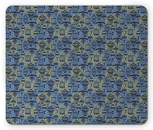 Laternen-mauspad, Ethnische chinesische kulturelle elemente zusammensetzung im skizzen-gekritzel-kunstdesign, Rechteck-rechteck-rutschfestes gummi-mauspad, Schieferblau-gelb