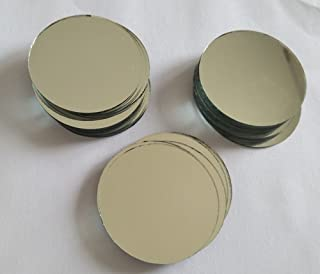 "30PCS Glass Round Mirror Mosaic Tiles Round Craft Mirrors DIY Accessory (2"")"