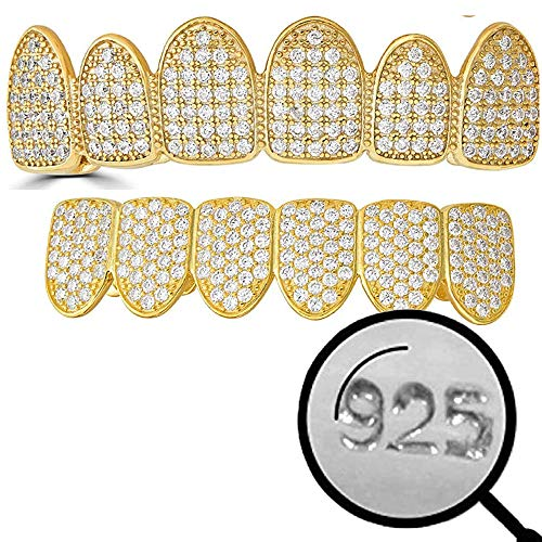 Harlembling Solid 925 Sterling Silver Real Grillz - 14k Yellow Gold Plated - Iced CZ - Custom Top & Bottom Grills for Teeth - Real Solid Silver NOT Brass