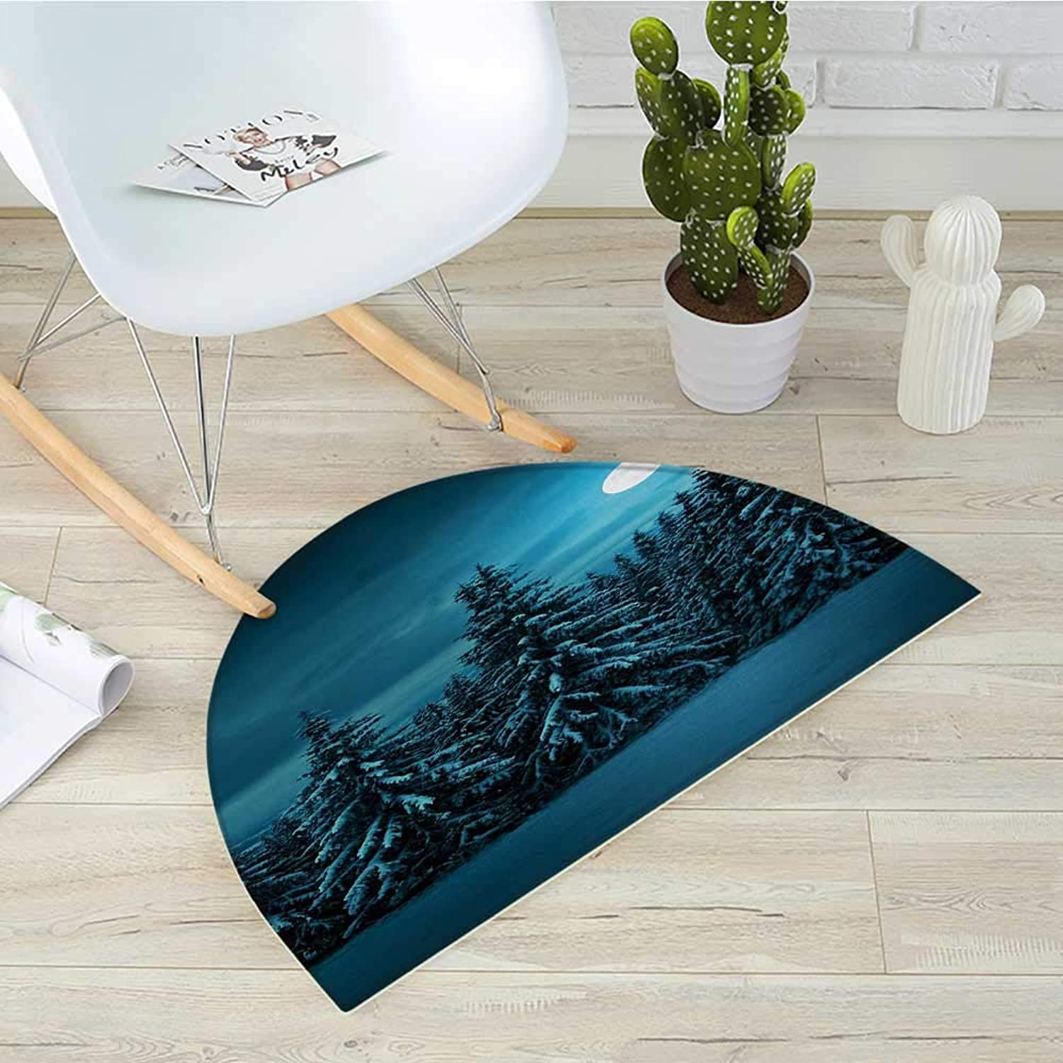 Night Semicircular CushionTranquil bluee Night with Moon in Woods Covered with Snow Serene Winter View Entry Door Mat H 43.3  xD 64.9  Turquoise Teal White