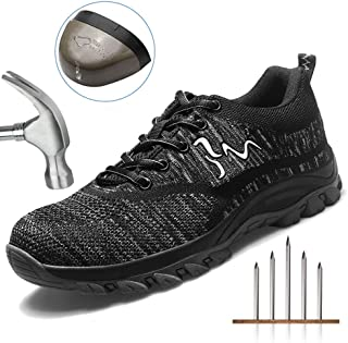 UPSTONE Work Shoes for Men, Indestructible Steel Toe Battlefield Shoes Work Safety Womens Shoes Breathable Construction Sneakers