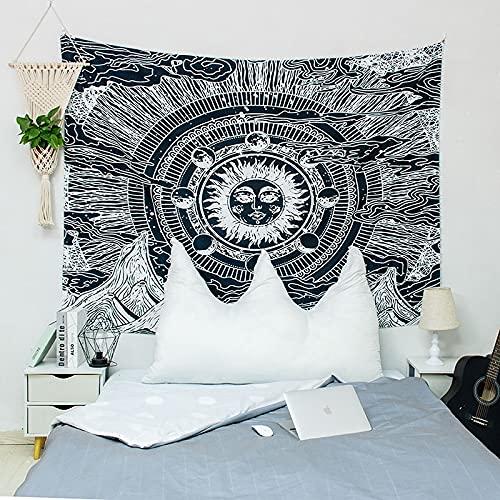 KHKJ Tapiz de Mandala de Sol y Luna, cabecero de Pared, Colcha, Tapiz de Dormitorio para Sala de Estar, Dormitorio, decoración del hogar A2 95x73cm