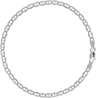 Ritastephens Sterling Silver Mariner Link Foot Chain Anklet or Necklace 4mm