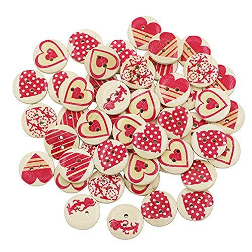 50 bottoni misti a due fori, in legno, motivo: cuore rosso, per cucito, fai da te, scrapbooking, Multicolor