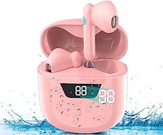 TYC Audífonos Inalámbricos Bluetooth 5.0, Auriculares Inalámbricos Deportivos Mini Sonido Estéreo In-Ear, Auriculares Bluetooth IPX6 Impermeable con, Control Táctil y LED Pantalla Caja de Carga Portátil de Gran Capacidad y Micrófono Integrado para iPhone y Android(Rosa)