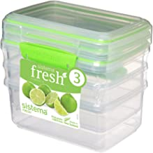 Sistema 951613 Fresh Collection 4.2 Cup Food Storage Containers (3 Pack), 33.8 oz, Clear/Lime Green