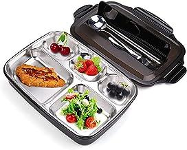 Salandens Almuerzo Portátil Inoxidable,Bento Caja de acero Contenedor Alimentos Compartimiento Calienta Comida Fácil , pal...