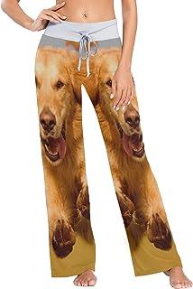 XiangHeFu Pantaloni da Pigiama da Donna, Pantaloni da Yoga, Leggings con Fondo, Pantaloni da Salotto a Vita Alta, Cane Che...